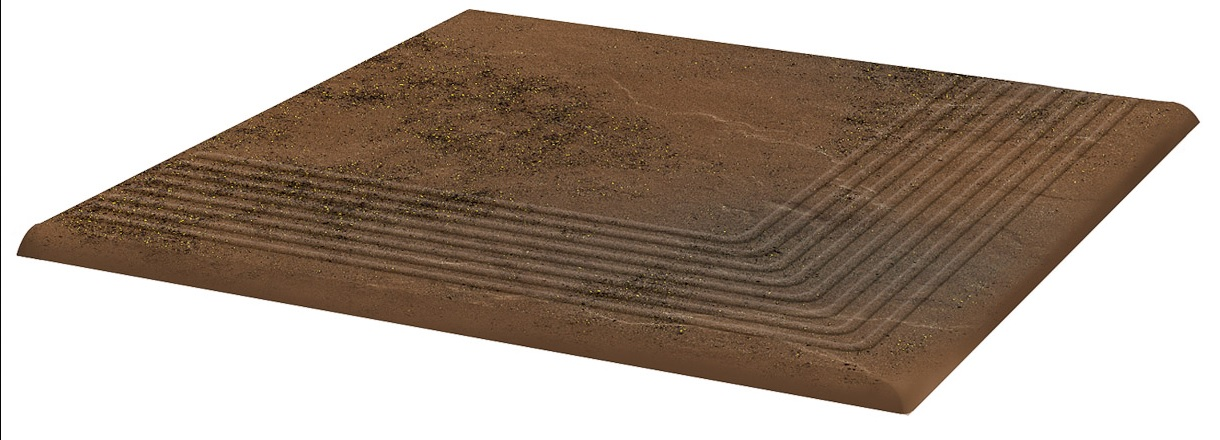 Купить Керамическая плитка Grupa Paradyz Semir Brown Ступень рифленая наружная структурная 30х30х1, 1 (в шт), Польша