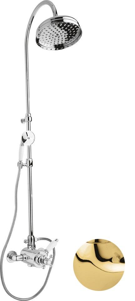 Купить Душевая колонна с термостатическим смесителем, верхним и ручным душем Cezares Elite золото, ручка белая ELITE-CD-T-03/24-Bi, Италия