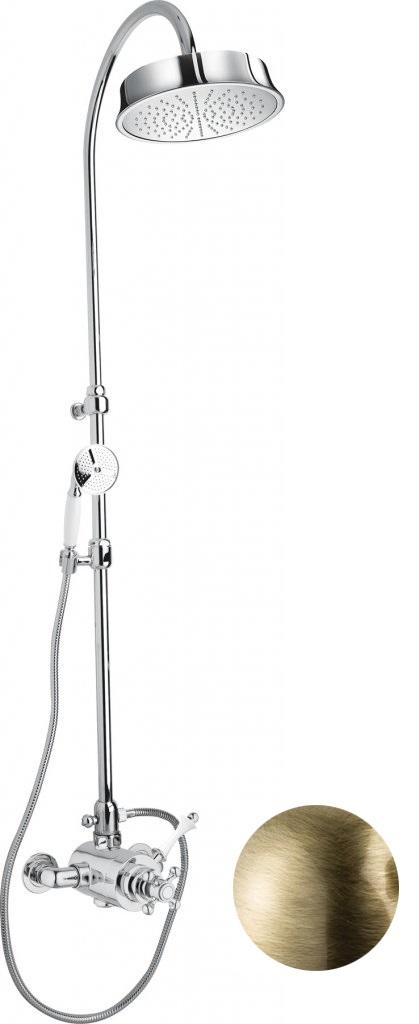 Купить Душевая колонна с термостатическим смесителем, верхним и ручным душем Cezares Margot бронза, ручка белая MARGOT-CD-T-02-Bi, Италия