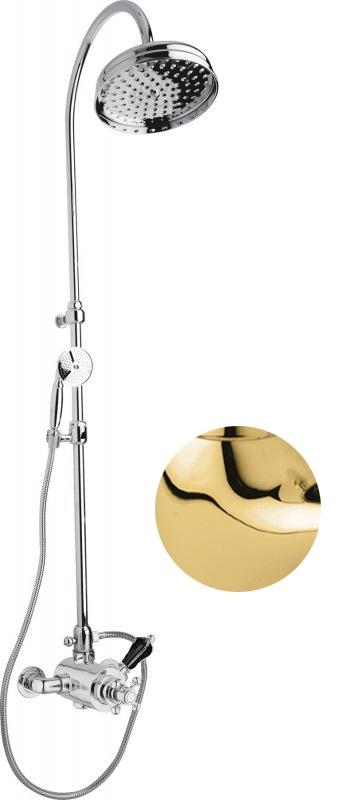 Купить Душевая колонна с термостатическим смесителем, верхним и ручным душем Cezares Vintage золото, ручка Svarovski черная VINTAGE-CD-T-03/24-Sw-N, Италия
