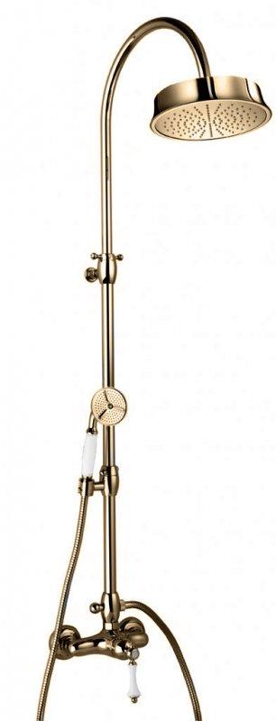 Купить Душевая колонна со смесителем, верхним и ручным душем Cezares Margot бронза, ручка белая с кольцом MARGOT-CD-02-Bi/A, Италия