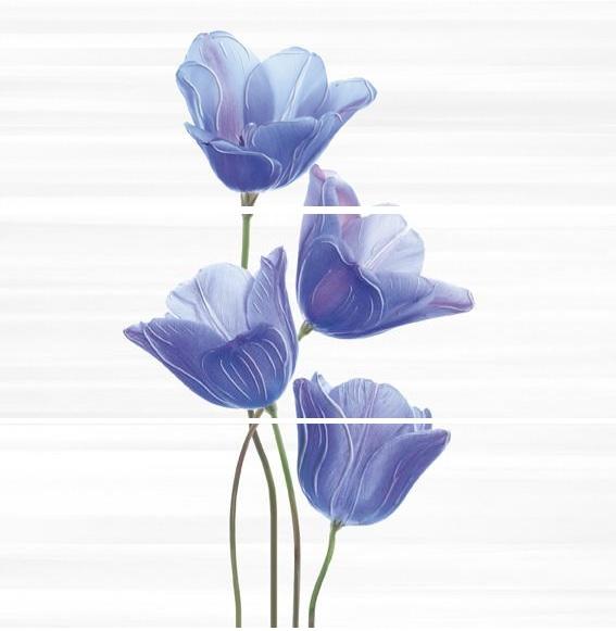 Купить Керамическая плитка Ibero Groove Decor Ocoa Royal Blue A/B/C (компл. из 3-х шт) панно 75x75, Испания