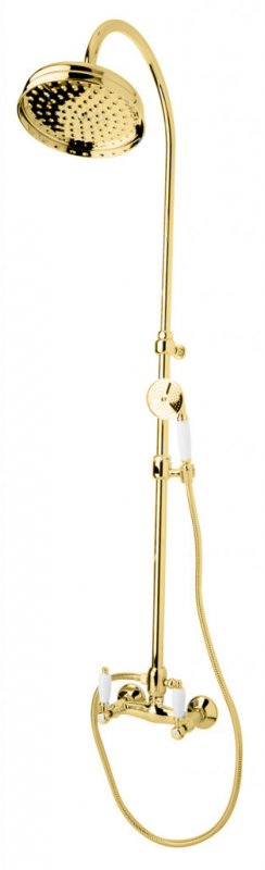 Купить Душевая колонна со смесителем для верхнего и ручного душа Cezares First золото, ручка белая FIRST-CD-03/24-Bi, Италия