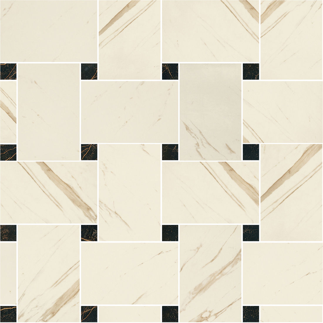Купить Керамогранит Versace Marble Bianco 240531 Mosaics Intrec. Bianco-Nero Nat/Lap мозаика 29, 1х29, 1, Италия