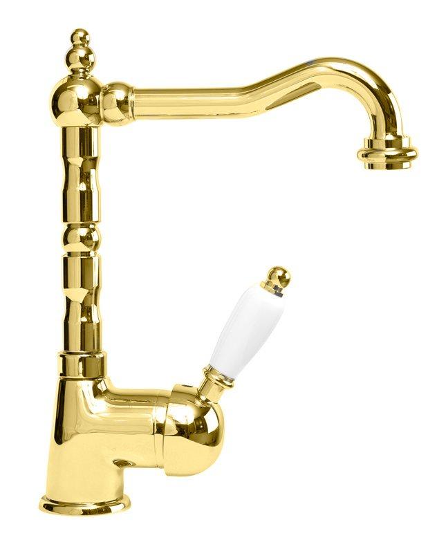 Купить Смеситель для раковины Cezares Elite золото, ручка белая ELITE-LSM2-03/24-Bi, Италия