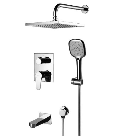 Купить Встраиваемый смеситель с изливом, верхним и ручным душем Lemark Shift LM4322C, Чехия