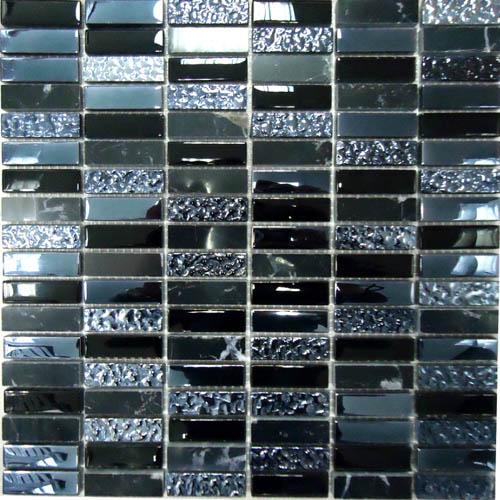 Купить Керамическая плитка China Mosaic Super Line (black) (8x15x48) Мозаика 30x30, Китай