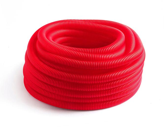 Купить Кожух гофрированный красный 25 мм для труб диаметром 15-18 мм 1м, ДельтаПро, Россия
