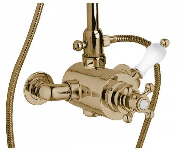 Купить Смеситель термостатический Cezares Venezia бронза, ручка белая VENEZIA-D-T-02-Bi, Италия