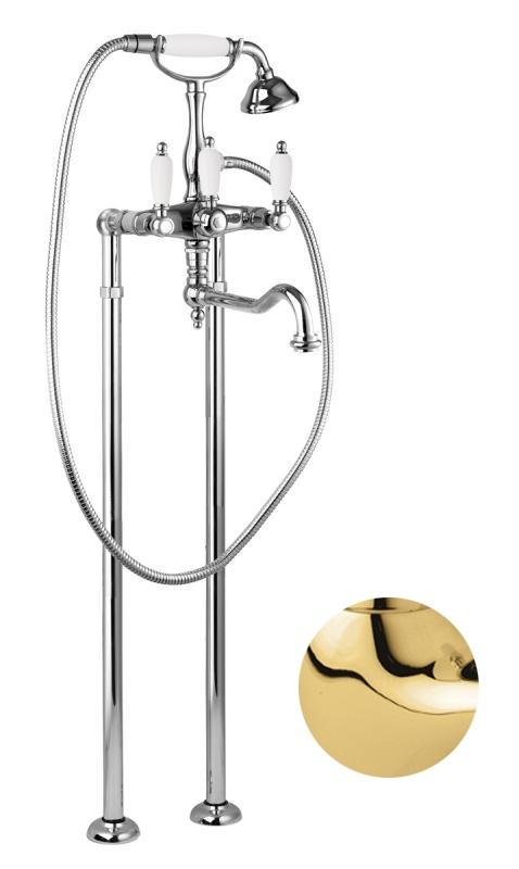 Купить Смеситель для ванны и душа Cezares First золото, ручка орех FIRST-VDP2-03/24-Nc, Италия