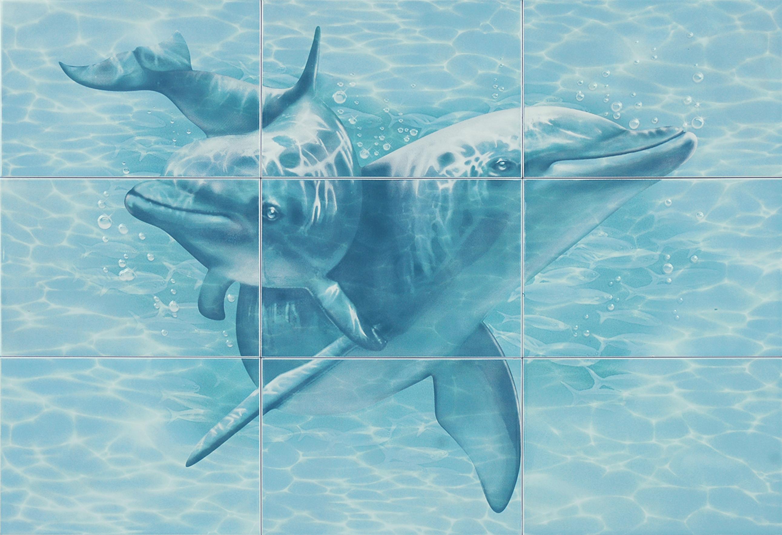 Купить Керамическая плитка Уралкерамика Лагуна 76Д Панно Дельфины 74, 7x109, 2 (из 9 плиток), Россия