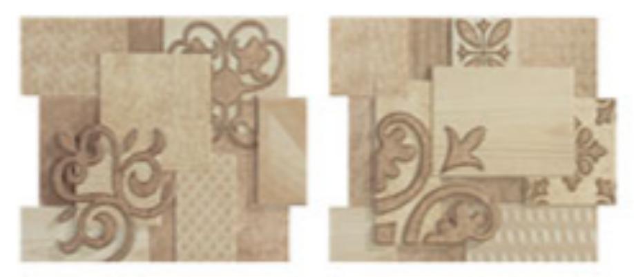 Купить Керамическая плитка Porcelanite Dos 9516 Composicion Crema-Beige Sin Fin II (компл. из 2 шт) бордюр 19, 9х23, 2, Испания