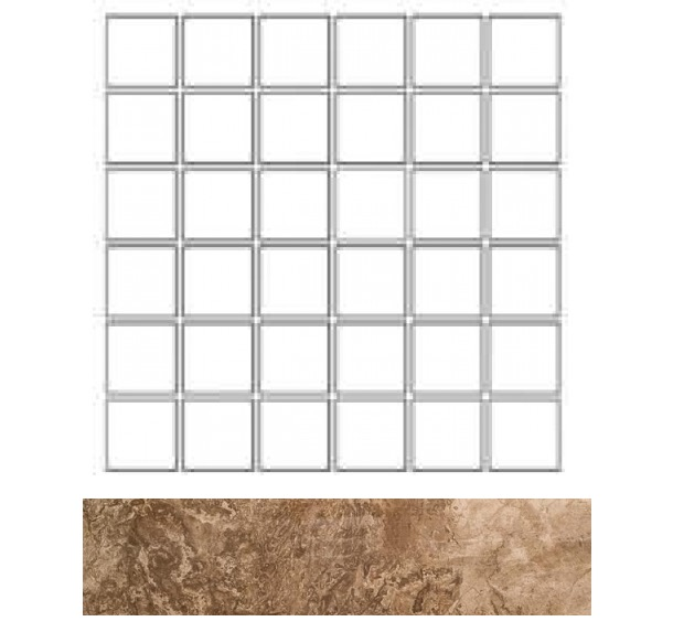 Купить Керамогранит Seranit Fossil Mosaic Brown Lappato (5x5) мозаика 30x30, Турция