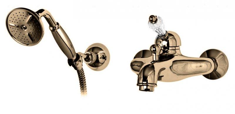 Купить Смеситель для ванны и душа Cezares Vintage бронза, ручка Swarovski VINTAGE-VDM-02-Sw, Италия