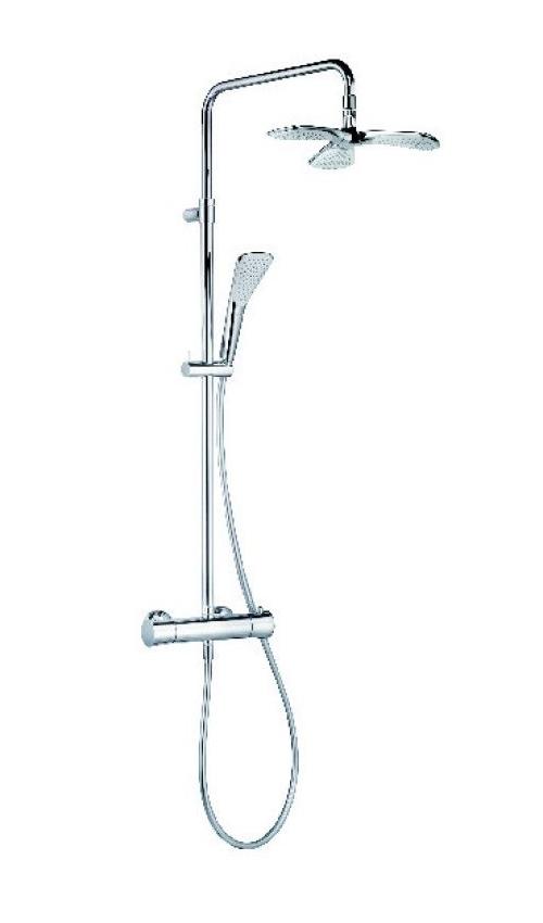 Душевая система с термостатом, ручным и верхним душем Kludi Fizz хром 6709505-00