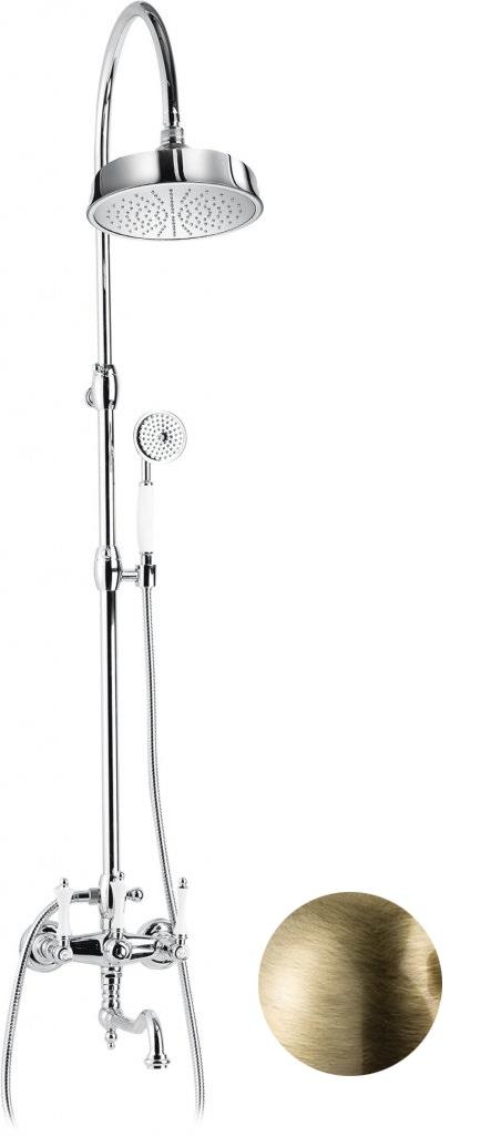 Купить Душевая колонна со смесителем, верхним и ручным душем Cezares Margot бронза, ручка белая MARGOT-CVDF-02-Bi, Италия