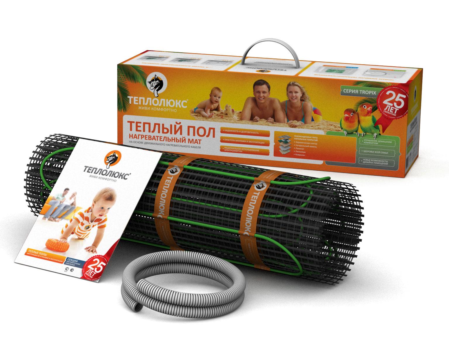 Купить Нагревательный мат Теплолюкс Tropix МНН 130-1, 0 кв.м с двухжильным экранированным кабелем, Россия