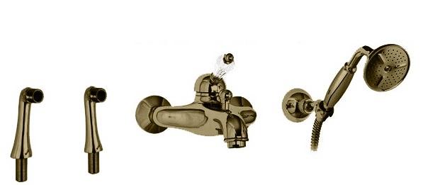 Купить Смеситель для ванны и душа Cezares Vintage бронза, ручка Swarovski VINTAGE-PBVM-02-Sw, Италия