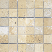 Мозаика Caramelle Mosaic Art Stone Travertino Beige Mat (4,8x4,8) 30x30